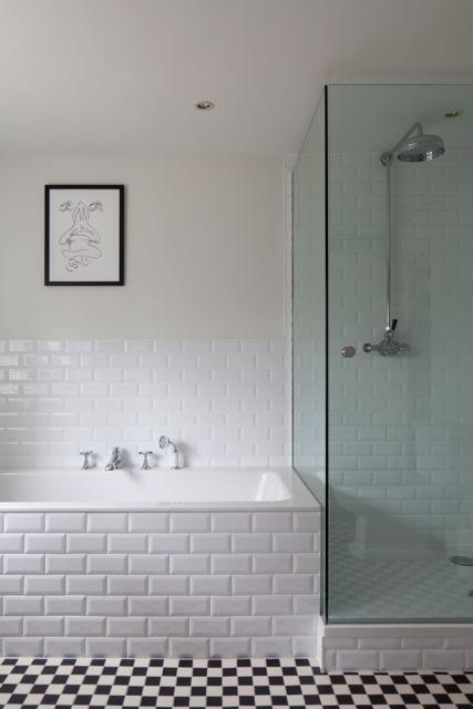 Lewes Tiles Mosaic Floor And Brick Pattern Bathroom